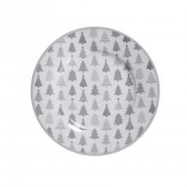 Krasilnikoff Porcelánový dezertní talíř Christmas Trees, šedá barva, bílá barva, porcelán