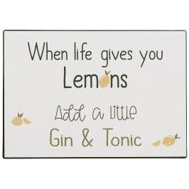IB LAURSEN Plechová cedule Add Gin & Tonic, multi barva, kov