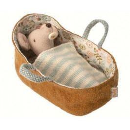 Maileg Myší miminko v zavinovačce Baby mouse, hnědá barva, textil