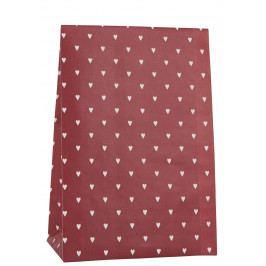 IB LAURSEN Papírový sáček Hearts Red 28,5cm, červená barva, bílá barva, papír