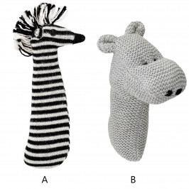Bloomingville Dětské pletené chrastítko Zebra & Hippo A - zebra, multi barva, plast, textil