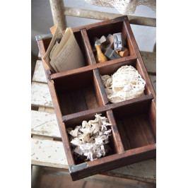 Jeanne d'Arc Living Dřevěný box s přihrádkami Old Wood, hnědá barva, přírodní barva, dřevo, kov
