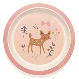 PETIT MONKEY Dětský bambusový talíř Bamboo Deer, růžová barva, dřevo