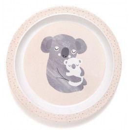 PETIT MONKEY Dětský melaminový talíř s okraji Koala, béžová barva, melamin