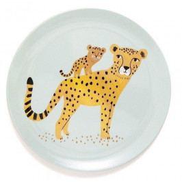 PETIT MONKEY Dětský melaminový talíř Leopard Aqua, multi barva, melamin