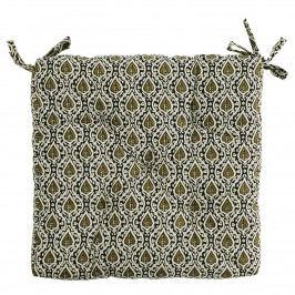 MADAM STOLTZ Sedák Off White/Black/Olive 45x45cm, zelená barva, černá barva, bílá barva, textil