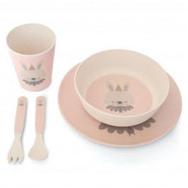 EEF lillemor Bambusové nádobí pro děti Circus Bunny - set 5 ks, růžová barva, béžová barva