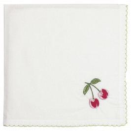 GREEN GATE Bavlněný ubrousek Cherry Red, bílá barva, textil