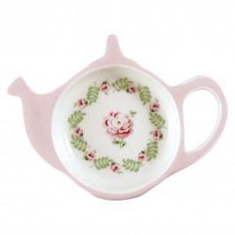GREEN GATE Tácek na čajové sáčky Lily Petit White, růžová barva, porcelán