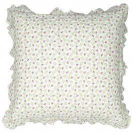 GREEN GATE Povlak na polštář Lily Petit White 50x50cm, zelená barva, textil