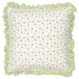 GREEN GATE Povlak na polštář Lily Petit White 40x40cm, zelená barva, textil