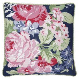 GREEN GATE Povlak na polštář Rose Dark Blue 50x50cm, růžová barva, modrá barva, textil