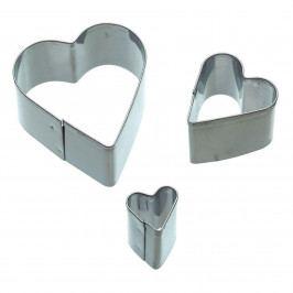 Kitchen Craft Sada vykrajovátek Heart - 3 ks, stříbrná barva, kov