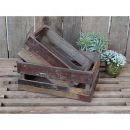 Chic Antique Dřevěná bedýnka Old French Apple Box Menší, hnědá barva, dřevo
