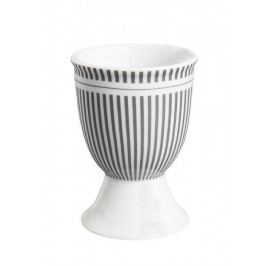 Krasilnikoff Stojánek na vajíčko Grey Stripes, šedá barva, bílá barva, porcelán