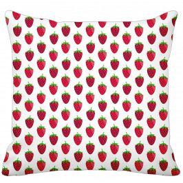 Krasilnikoff Bavlněný povlak na polštář Strawberry White, červená barva, bílá barva, textil