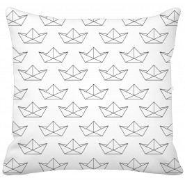 Krasilnikoff Bavlněný povlak na polštář Paper Boat All Over, černá barva, bílá barva, textil