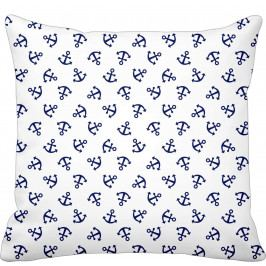 Krasilnikoff Bavlněný povlak na polštář Blue Anchor, modrá barva, bílá barva, textil