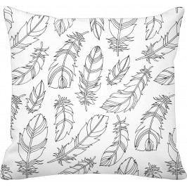 Krasilnikoff Bavlněný povlak na polštář Feather White, černá barva, bílá barva, textil