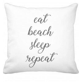 Krasilnikoff Bavlněný povlak na polštář Eat, Beach, Sleep, Repeat, šedá barva, bílá barva, textil