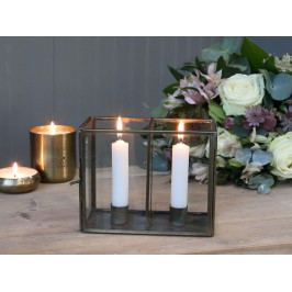 Chic Antique Svícen pro dvě svíčky Glass Box, čirá barva, sklo, kov