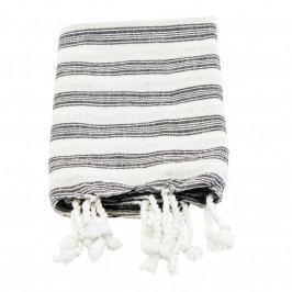 meraki Bavlněný ručník Hammam White 90 x 45 cm, černá barva, bílá barva, textil