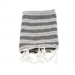 meraki Bavlněný ručník Hammam Black 90 x 45 cm, černá barva, bílá barva, textil