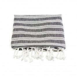meraki Bavlněná osuška Hammam Black 180 x 100 cm, černá barva, bílá barva, textil