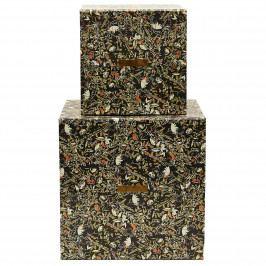 House Doctor Úložný box Floral Black Menší, černá barva, multi barva, papír