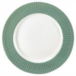GREEN GATE Obědový talíř Alice Dusty Green, zelená barva, bílá barva, keramika