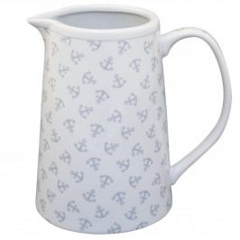 Krasilnikoff Porcelánový džbán Anchors All Over, šedá barva, bílá barva, porcelán