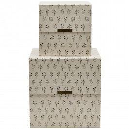 House Doctor Úložný box Floral Beige Menší, béžová barva, papír