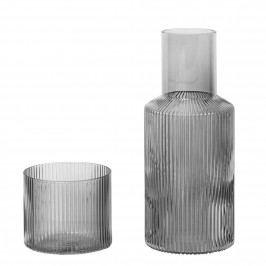 ferm LIVING Karafa se skleničkou Ripple Smoked grey 500 ml, šedá barva, sklo