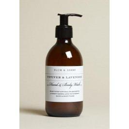 PLUM & ASHBY Mycí gel na tělo a ruce Vetiver & Lavender 300ml, hnědá barva, sklo