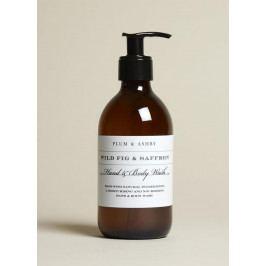 PLUM & ASHBY Mycí gel na tělo a ruce Wild Fig & Saffron 300ml, hnědá barva, sklo