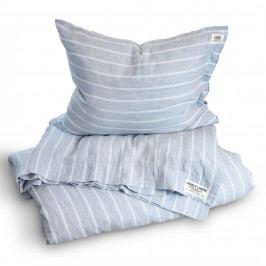 Lovely Linen Přírodní lněné povlečení Stripe Sky, modrá barva, textil
