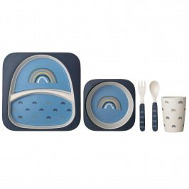 Bloomingville Bambusové nádobí pro děti Henry - set 5 ks, modrá barva