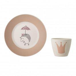 Bloomingville Dětské bambusové nádobí Princess set, růžová barva, přírodní barva, dřevo