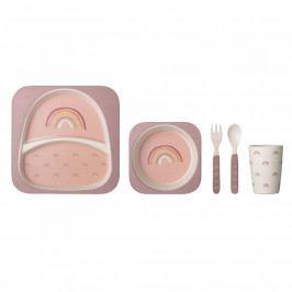 Bloomingville Dětské bambusové nádobí Rose, růžová barva, dřevo
