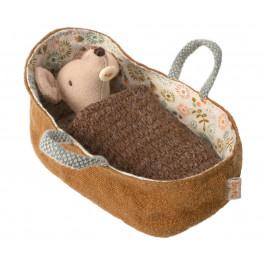Maileg Myší miminko v zavinovačce Baby mouse Brown, béžová barva, hnědá barva, textil