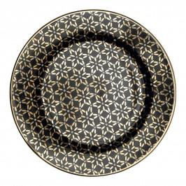 GREEN GATE Porcelánový talířek Juno Gold, černá barva, zlatá barva, porcelán