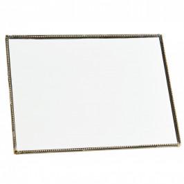 MADAM STOLTZ Stolní zrcátko s opěrkou Antique Brass - na šířku, zlatá barva, sklo, kov