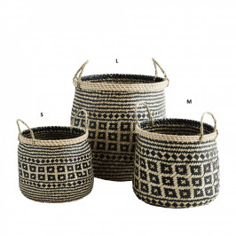 MADAM STOLTZ Koš s geometrickým vzorem Seagrass Baskets L, černá barva, přírodní barva, proutí
