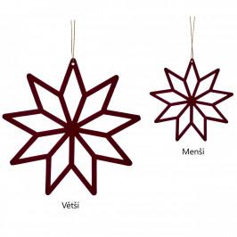 Hübsch Závěsná dekorace Bordeaux Wood Star Větší, červená barva, dřevo