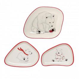 Bloomingville Vánoční talířek Twinkle Medvěd na saních, červená barva, krémová barva, keramika
