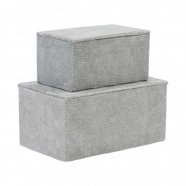 House Doctor Úložný box Corduroy Grey Menší, šedá barva, papír, textil