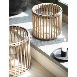 IB LAURSEN Svícen Bamboo Glass Menší, přírodní barva, sklo, proutí