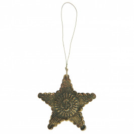 IB LAURSEN Kovová vánoční ozdoba Antique Star, hnědá barva, zlatá barva, kov