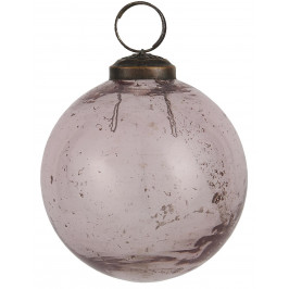 IB LAURSEN Vánoční baňka Pebbled Glass Rosa 8cm, růžová barva, sklo