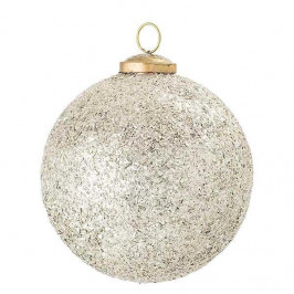 Bloomingville Vánoční baňka Vintage Silver Dust Ø 13 cm, stříbrná barva, sklo, kov
